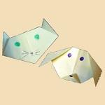 Простые схемы оригами для детей голова собаки и голова кошки
